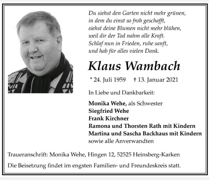 Wir trauern um unser Vereinsmitglied Klaus Wambach